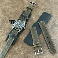 Size 18/20/22mm Pilot Aviator Two Tone Leather Bund Style Watch Strap Band #015F