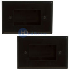 2x Wall Plate 1 Single Gang Recessed Low Voltage Cable Decora Black Lot Pack