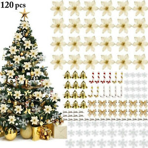 120pcs Christmas Tree Decoration Ornaments Glitter Flower Bows Xmas Party Decor