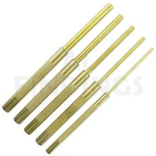 "3mm to 9.5mm LONG DRIVE BRASS PIN PUNCH SET - 5 PIECES from 1/8 to 3/8"" tool"