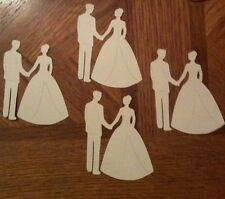 "BRIDE & GROOM Die-Cut(12pc) Off-Wht/Cream Aprox:3.5""x 2.5"" Cake•Wedding•Ceremon"