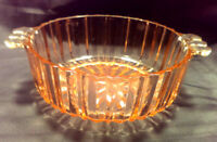 Vintage Pink Depression Glass Candy-Trinket Bowl Dish DOUBLE HANDLE Star Cut
