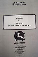 JOHN DEERE OPERATOR'S MANUAL FOR 17P UTILITY CART OMM156786 L2