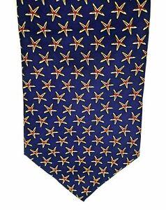 "STARFISH Milano Men's Tie Novelty Blue Red 100% Silk 4"" Width 60"" Length"