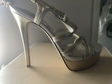 New ($175) Michael Kors Cicely Platform Heels Leather Stiletto Silver/Gold 9 NIB