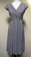 Ann Taylor Loft Dress 2 Black & White Faux Wrap Cap Sleeve Knee Length Career