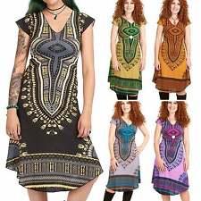 African Dashiki Print Dress, Angelina Boho Summer Dress, Casual Hippie Sun Dress