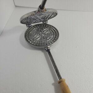 Krumkake/ Pizzelle Cookie Waffle Iron Maker Press Stovetop Hinged Flower Pattern