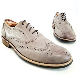 Kenneth Cole Reaction Rogue Trip Wingtip Oxfords Gray Leather Shoe Mens Size 9.5