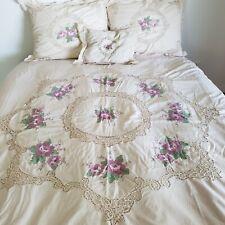 Vintage Duvet Set Cotton Embroidered Crochet Floral Queen Beige Purple 5 Pc