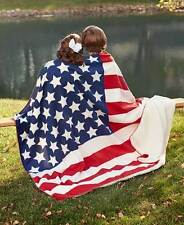 Jumbo Sherpa Backed Americana Patriotic Flag Throw Blanket Sofa Bed Home Decor