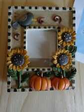 MINI PHOTO FRAME Sunflowers Pumpkins Resin Magnetic and Easel for Table Display