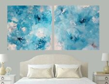 CLASSY XL 1200x600 Modern SET Teal Silver Aqua Blue Abstract Canvas Painting Art