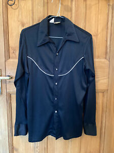 COWGIRL PIN UP ROCKABILLY VINTAGE WESTERN SHIRT PEARL BUTTONS UK SMALL 10 - 12
