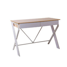 Artiss Metal Desk with Drawer White with Oak Top