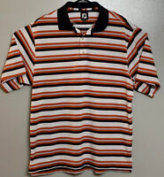 FootJoy Polo Shirt Mens Size L Short Sleeve White Orange Blue Striped EUC