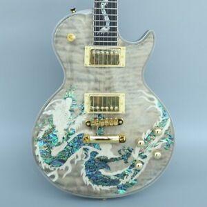 Naughty boy natural wood color dragon Abalone veneer and inlay electric guitar