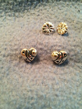 GORGEOUS JOHN ATENCIO 18K GOLD & STERLING SILVER PIERCED BUTTERFLY POST EARRINGS