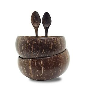 Coconut Bowl and Spoon 100% Natural Handcrafted from Reclaimed Coconut Shells