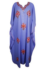 PURPLE BEAUTIFUL HAND EMBROIDERED MAXI CAFTAN KIMONO SLEEVE COVER UP LONG DRESS
