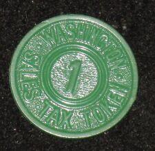 "Vintage 7/8"" Green Washington 1c SALES TAX Token - Washington State? DC?"
