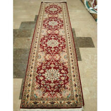 Red Floral Love Mahal Exclusive Designed Hand Knotted Runner Rug (10 x 2.6)'