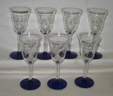 "(7) Weston Glass Etched 5 1/4"" Cordial Stemware Glasses Cobalt Blue Base"