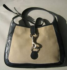 VTG Black Shoulder Bag Purse Made in Italy Black with beige