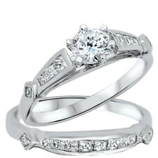 Clear CZ Round and Princess Shape Engagement Wedding Silver Ring Set