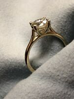 2.00 Ct Round Cut Solitaire Diamond Engagement Ring 14K Yellow Gold Size M N O P