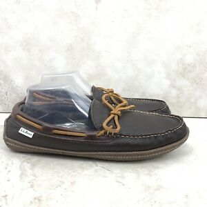 LL Bean Men 11 Handsewn Slippers Dark Brown Leather Flannel Lined WEAR FLAWED