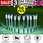 10 X Solar Powered Stainless Steel Led Post Stake Lights Garden Patio Outdoor Uk