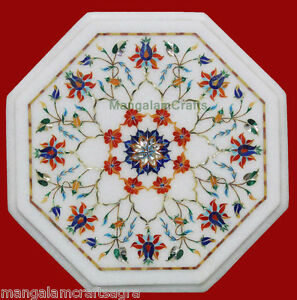 "14"" Marble Coffee Table Handicraft Pietra dura Inlay Art Home Decor Gifts"