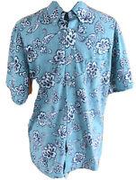Reyn Spooner Men's Medium Blue Floral Button Front Shirt Hawaiian Aloha Shirt