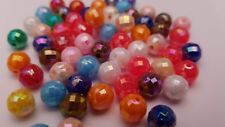 50 x 8mm Mixed Colour Acrylic Opaque Faceted AB Beads