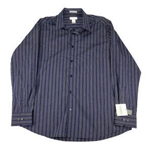 NWT Mens Claiborne Classic Fit Multi Color Stripe Cotton Long Sleeve Shirt Sz L