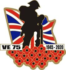 VE Day 75 Poppy Car Window Sticker with Soldier and Union Jack - Victory Europe