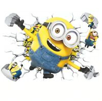 Cartoon Minions Yellow Man 3D Wall Stickers For Kids Room Home Decoration