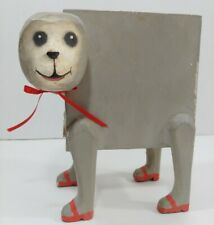Southern Folk Art Hand Carved Paintd Wood Piggy Coin Bank Box MONKEY w/Red SHOES
