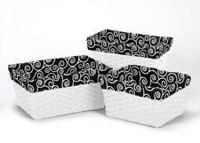 Black And White Print Organizer Storage Kid Basket Liners Small Medium Large Bin