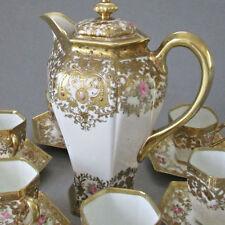 Antique NIPPON Porcelain Tea Pot + 6 Cups + Saucers ROSES * Ornate GILT Moriage