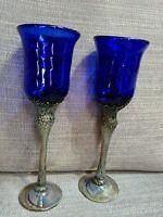 Pair Of Cobalt Blue Hand Blown Glass Goblets By Laguna Beach Artist, John Barber