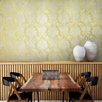 Embossed nonwoven Wallpaper white gold Metallic textured damask wall covering 3D