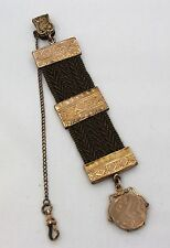 Antique Victorian Mourning Woven Hair Watch Chain With Locket Fob