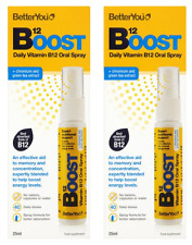 """2 x BetterYou Vitamin B12 Boost """"Pure Energy"""" Oral Spray 25ml - TWO PACK"""