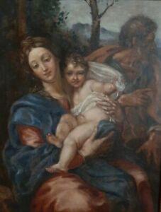 Quadro Antico Dipinto Olio Su Tela - Sacra Famiglia - Madonna Gesù S.Giuseppe