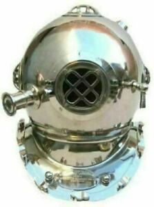 Deep Sea Mark V Diving Helmet Marine Brass Divers Helmet Handmade Chrome Finish