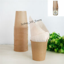 ECO BROWN PAPER CUPS 20PK PARTY BEVERAGE  200ML VINTAGE SHABBY CHIC TUMBLERS
