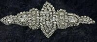 Diamante Applique Motif Crystal Patch Sew on Bridal Dress Belt, Hair Band D1