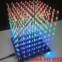 3D 8x8x8 DIY Kits LED Light Cube kit Music Spectrum 8S Electronic RGB Squuare